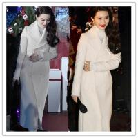 代购秋冬女装新款范冰冰明星同款白色毛呢外套中长款修身羊绒大衣 X