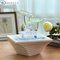 创意摆件办公室客厅鱼池摆件喷泉鱼缸家居流水装饰品开业礼品桌面创意工艺品一对存钱罐
