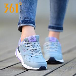 361度女鞋秋季时尚多色拼接舒适透气防滑耐磨休闲运动跑鞋
