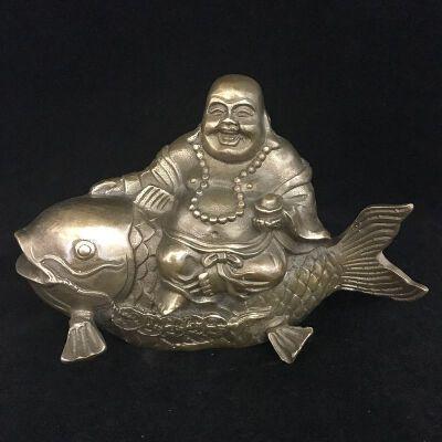 弥勒佛坐鲤鱼招财铜摆件