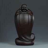 黄泉福黑檀木雕摆件皆大欢喜五福招财弥勒佛木雕佛像雕刻工艺礼品