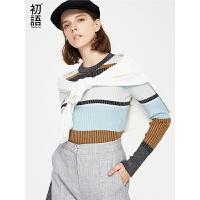 初语 秋季长袖女衣秋装新款圆领套头撞色条纹修身韩版毛衣潮