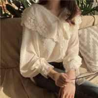 早春韩国chic优雅翻边娃娃领单排扣雪纺蕾丝拼接点点透视衬衣上衣