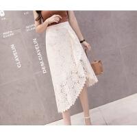 201808222232522792018夏季新款韩版不规则半身裙女士蕾丝镂空中长裙子百搭短裙