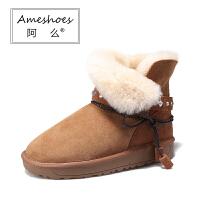 阿么2017羊皮毛一体雪地靴水钻绑带真皮短筒纯羊毛冬季女鞋棉短靴