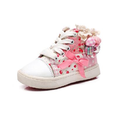 比比我儿童高帮帆布鞋女童春秋款韩版潮鞋休闲鞋系带平底女鞋