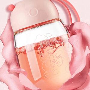 opus玻璃杯女士水杯子便携泡茶杯可爱果汁杯玻璃创意随手杯花茶杯
