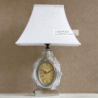 现代欧式台钟复古座钟带可调光台灯时尚创意坐钟客厅装饰时钟桌钟 LG298Y