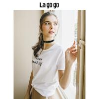 【5折价71.5】Lagogo/拉谷谷2018年夏季新款时尚学院印花收腰短袖T恤HATT315Y08