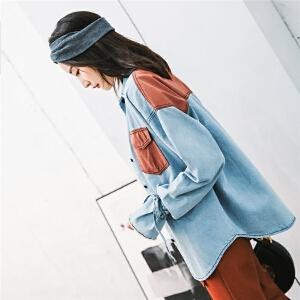 七格格牛仔衬衫女2018新款秋季韩版拼色绑带复古口袋长袖浅蓝衬衣