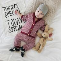 婴儿秋装0-3岁2男女宝宝外出格子两件套6-个月新生儿套装潮