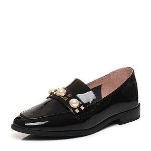 Teenmix/天美意春专柜同款漆牛皮铆钉珠饰方跟乐福鞋女单鞋AP071AQ7