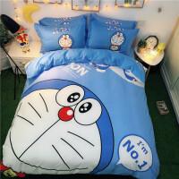 全棉卡通哆啦a梦儿童床单被罩四件套纯棉三件套蓝胖子机器猫1.2m 叮当 +送抱枕