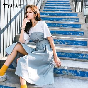七格格短袖连衣裙夏季2019新款女装潮气质韩版学生收腰中长款裙子