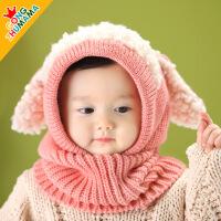 韩国秋冬季宝宝帽子男童女童婴儿帽儿童毛线帽围脖围巾保暖 6-36个月