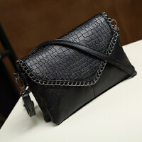 包包女新款斜挎包女单肩包简约小包包链条包信封包女士手拿包 黑色 大号