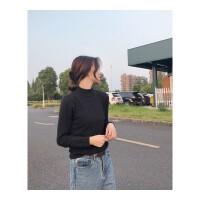 秋冬宽松半高领毛衣女套头打底衫长袖线衣短款内搭韩版黑色针织衫