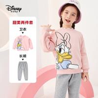 迪士尼宝宝女童套装幻想即兴曲女童针织可爱圆领不倒绒套装秋季新款