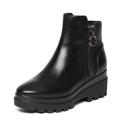 Belle/百丽冬季专柜同款黑油皮牛皮革女皮靴(绒里)BKB42DD6