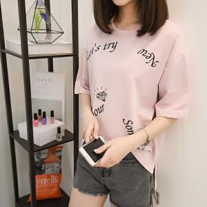 印花白色t恤女夏装2018新款短袖女学生宽松韩版ulzzang百搭体恤潮
