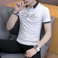 2018夏季新款男士翻领短袖T恤青年有领上衣服夏天韩版潮流衬衫领