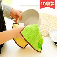 加厚吸水抹布10条装不沾油清洁布洗碗巾厨房不掉毛擦碗毛巾洗碗布