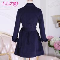 冬装新款女装 深蓝色尖翻领修身中长款毛呢外套大衣