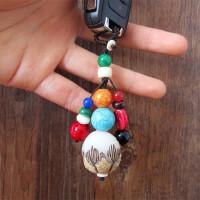 汽车钥匙挂件男女创意礼物手工定制情侣菩提子根钥匙扣挂饰品圈链 莲花款(菩佛钥匙挂)