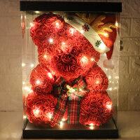 圣诞节礼物女生永生花玫瑰花小熊情人节女友老婆创意浪漫生日礼物
