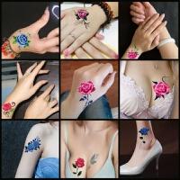 2018新品性感纹身贴韩国纹身贴纸防水女仿真玫瑰花遮痕刺青文身小清新持久