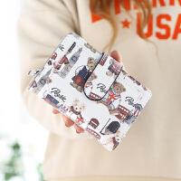 钱包女短款日韩新款小熊折叠可爱简约搭扣手拿包学生迷你钱夹 米白色 短款