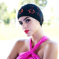 泳帽 女士双层布料游泳帽子 学生长头发加大休闲时尚雕花立体花朵