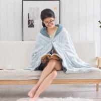 毛毯羊羔绒可穿懒人毯子披肩午睡斗篷可穿式羊羔绒毛毯被子加厚单人冬季办公室毯 65cmX180cm