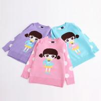 女童毛衣秋装新款童装儿童卡通圆点图案线衣宝宝套头针织衫
