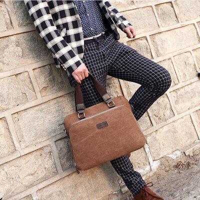 男包手提包横款单肩包斜挎包公文包男士休闲电脑包包帆布包包