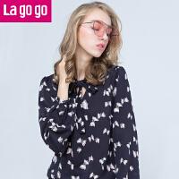 【3折价72】Lagogo2017秋冬季新款V领雪纺衫百搭长袖衬衫碎花休闲韩版上衣女