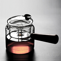 普智 侧把玻璃茶壶 加厚耐热耐高温玻璃 家用蒸汽煮茶器 烧水壶 电陶炉泡茶壶茶具(升级款木柄煮茶器)