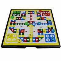 飞行棋 磁性折叠飞行棋大号便携式桌游飞机棋幼儿园玩具棋子互动游戏休闲儿童益智玩具 黑色 大号每色4颗+2骰子