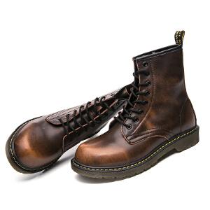男式 英伦风复古经典款男靴马丁靴 男士高帮鞋短靴潮皮靴 (加绒版)