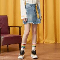 【全场2件2.5折,到手价:49.8】美特斯邦威短裙女牛仔裙时尚秋装新款显瘦个性chic百搭A字裙