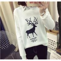 2018秋冬装新款毛衣女韩版女学生小清新卫衣女假两件衬衫Polo娃娃领大码女T外套长袖