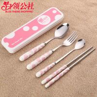 白领公社 餐具套装 创意家用不锈钢便携式学生可爱筷子盒长柄勺子儿童旅行厨房用品