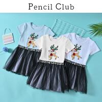 【3折价:45】铅笔俱乐部童装2020夏装新款女童连衣裙儿童网纱拼接裙中大童裙子