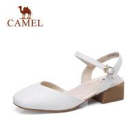 Camel/骆驼玛丽珍牛皮女鞋2018春季新款包头一字扣单鞋方头平底粗跟鞋子