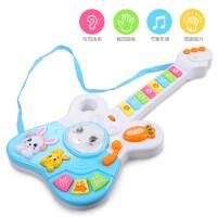 儿童吉他玩具可弹奏迷你仿真乐器 尤克里里带音乐吉他玩具男女孩a292 快乐兔音乐吉他-蓝色