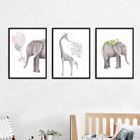 印花十字绣新款客厅小幅简约现代三联画吉象福鹿简单新手可爱动物