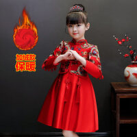 2018冬季新款女童唐装连衣裙儿童假两件套装长袖加绒加厚旗袍裙 红色