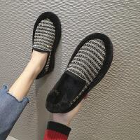 欧洲站冬季新款羊羔毛毛鞋水钻珍珠满钻厚底乐福鞋棉瓢鞋懒人女鞋
