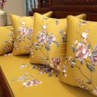 中式花鸟刺绣红实木沙发坐垫仿古家具圈椅垫加厚罗汉床防滑海绵座
