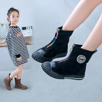 【活动价:77.4元】女童马丁靴儿童短靴2019年秋冬季新款学生雪地棉靴中大童女孩皮靴